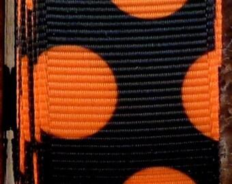 "2 Yards 7/8"" Black with Orange Funky Dots Print Grosgrain Ribbon"