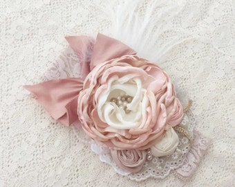 Blush pink baby couture headband. Dusty pink headband.