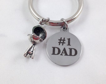 Dad Keychain, Grill Keychain, Number One Dad Keychain, Number 1 Dad Keychain, Grill Charm, Fathers Day Keychain, Fathers Day Gift