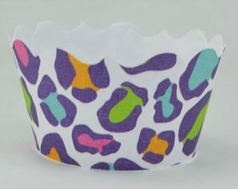 Multi Color Leopard Print Cupcake Wrapper