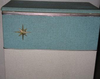 Mid Century Modern hamper vinyl over wood atomic star