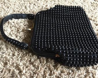 Vintage 1950s Black Vintage Plastic Beaded Handbag Purse