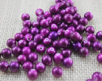 Special! Vintage 8mm Metallic Purple Beads (40 Pieces)