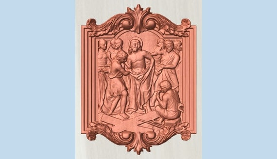 Station of the cross wood carving catholic by