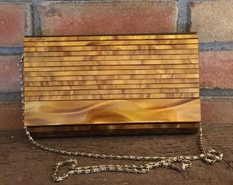 Vintage Lucite Clutch. Tortoiseshell Lucite Purse. Elka Evening Bag. Handbag. Gold Tone Strap. Vintage Fashion. Gift for Her. Circa 1960.