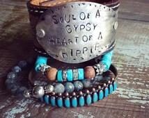 Soul of a Gypsy Heart of a Hippie Bracelet,  Gypsy Soul Bracelet, Painted Leather Cuff, Hippie Bohemian Festival Bracelet, Spoon Bracelet