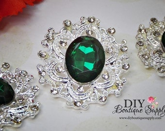 Large Emerald Green Rhinestone Buttons Crystal Buttons Flatback Embellishment For Shoe Clips, Headbands Bows flower centers 3pc 35mm N103