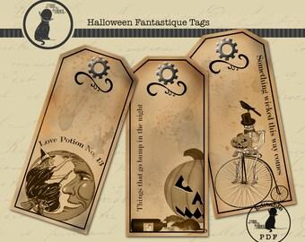 Printable Halloween Tags, Digital Halloween Tags, Halloween Labels, Printable Halloween Labels, Digital Halloween Tags, Instant Download
