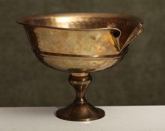 Vintage Split-Front Brass Pedestal Bowl Chalice Unique Metal Rustic Decor Planter Decorative Container Baptismal Bowl
