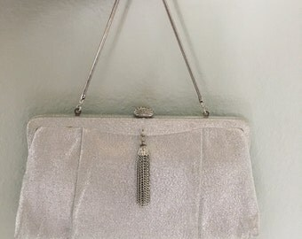 Vintage HL purse, Silver Lame handbag, Harry Levine purse, disco bag, clutch