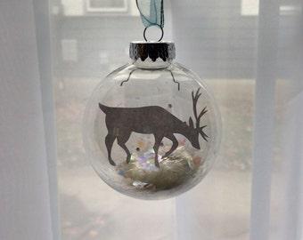Reindeer Papercut Ornament - Christmas Ball