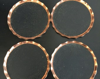 Vintage Leather & Copper Coasters