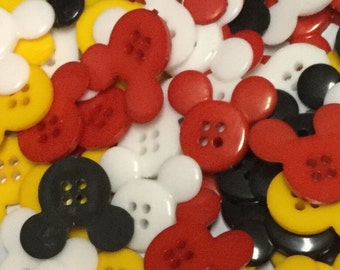 Set of 20 Mickey Mouse Colored Buttons