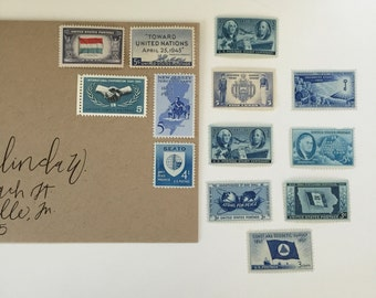 Unused vintage postage stamp set - Blue Hues - 16 stamps