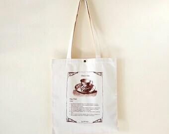 Cotton canvas Vintage Pattern Tote Bag---About TEA. (On Sale NOW!!!)