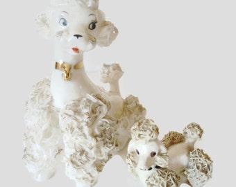 Vintage Spaghetti Porcelain Poodle Figurine Pair