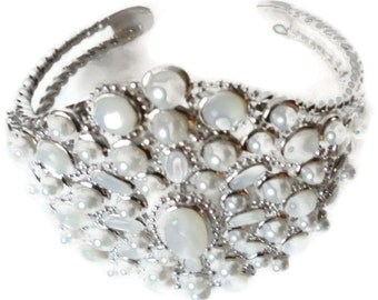 Vintage Cuff Bracelet Sterling Moonstone And Pearl