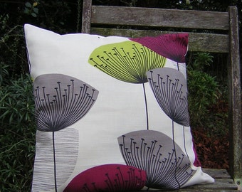 Cushion Cover - Sanderson Dandelion Clocks Fabric - Blackcurrant
