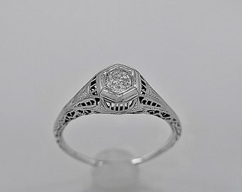 Antique Engagement Ring .25ct. Diamond & 18K White Gold Art Deco- J34030