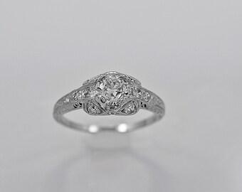 Antique Engagement Ring .75ct. Diamond & Platinum Art Deco- J34003