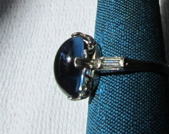 Vintage faux blue sapphire cab ring sterling  marked size 8