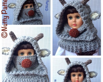 Crochet Pattern * Rudolph Hooded Cowl * red nosed reindeer * Instant Download Pattern # 500 * baby toddler child teen adult  * bulky