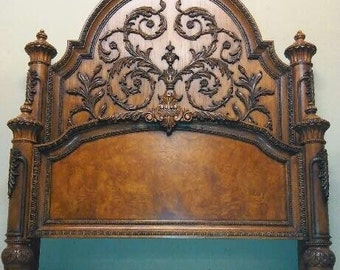 Queen Bed French Provincial Rococo Solid Wood Ornate Regency Headboard  Footboard Siderails Cross Slats