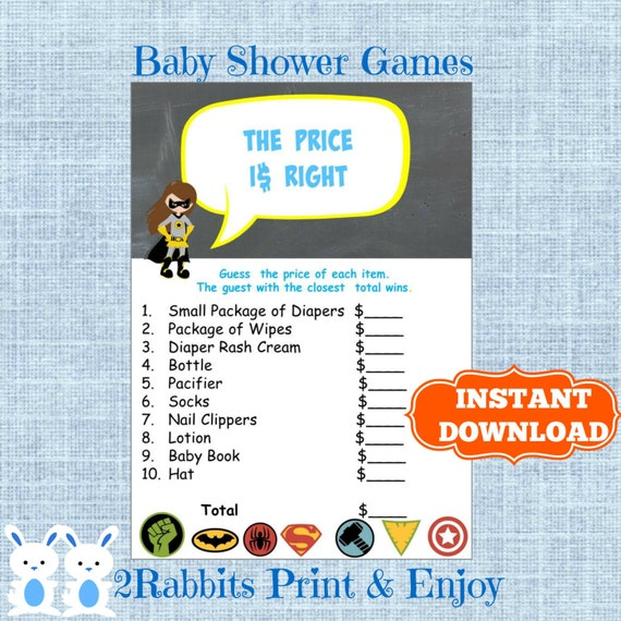 Superhero Baby Shower The Price Is Right Baby Shower