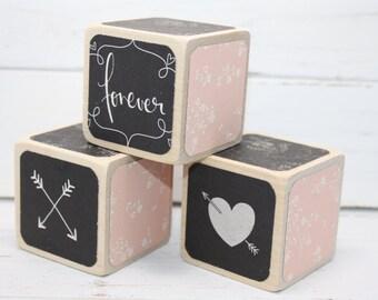 Wooden Blocks - Pink and Black Nursery - Baby Blocks - Baby Shower Decor - Shabby Chic Decor - 2 Inch Blocks