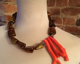 Artistic  Designer Chunky Asymmetrical Vintage Lucite  Statement Necklace with Red/Orange Branch Coral