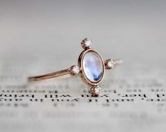 14k Rainbow Moonstone Diamond Ring, Star Ring, Starburst Ring, Statement Ring Rose Gold, Pink Gold, Purple, Blue moonstone, 14k moonstone ri