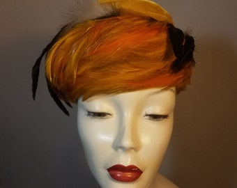 FREE  SHIPPING   1950 Feather Velvet Hat