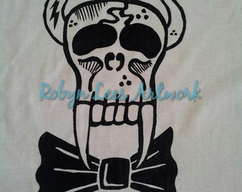 Sabre Tooth Devil Angel Skull with Bow Tie T-shirt