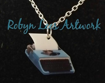 Small Printed Acrylic Typewriter Writer's Necklace on Silver, Gold or Bronze Crossed Chain, Poet