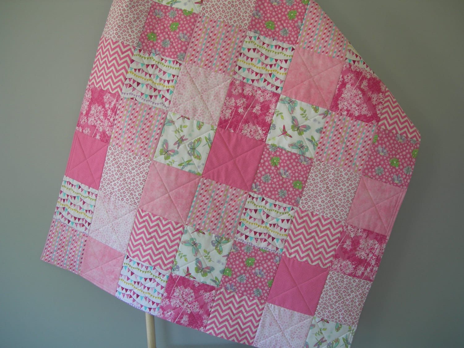 Baby Gift Quilt : Baby quilt pink gift patchwork toddler