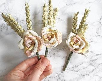 Carte boutonnière / Boutonnière de blé / Mens de boutonnières / fleurs en papier / rustique papier carte mariage / Vintage / thème Decor de voyage / carte Rose