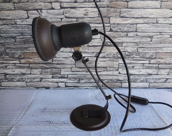 Vintage Black and Brown Metal Desk Lamp
