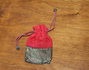 HALF PRICE SALE Small Change Purse or Pouch Purse, Red and Metal Square Design, Very Old, Antique, Accessory Early 1900s, Not on Internet
