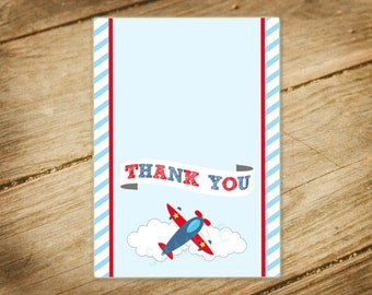 Airplane Birthday / Aviator / Matching / Foldabe / Thank You Card