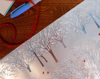 SALE 25% OFF CIJ Metallic Silver Winter Trees With Snow & Red Bird Gift Wrap Roll 2 yards