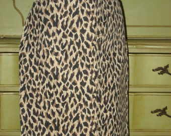 Animal Print Skirt -  Size 8 -  100% Cotton - Denim like Fabric - Made in El Paso, TX !