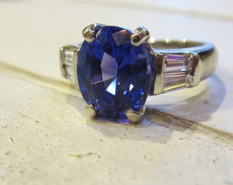 Tanzanite Engagement Ring| 3.58 Carats Tanzanite, Platinum and Diamonds| Oval Tanzanite| Classic Contemporary| Ready to Wear