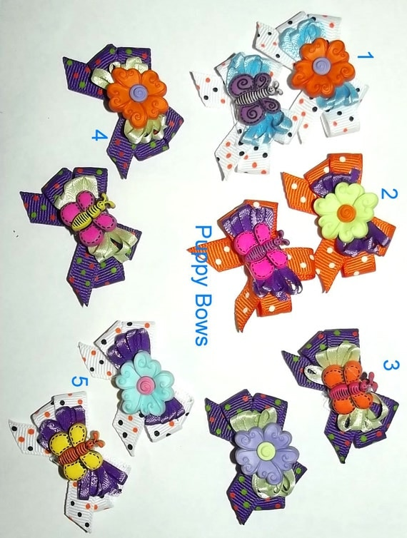 Puppy Bows ~Butterflies and flowers purple dog bow  pet bands, hair clip or  barrette