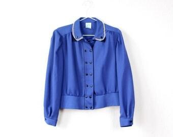 Vintage jacket 1970s blazer collar buttons black royal blue enbellished collar jacket