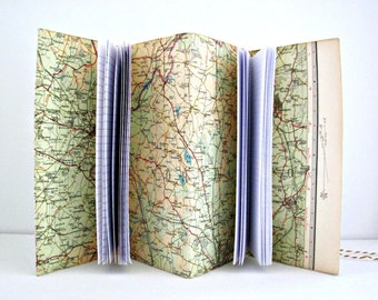 Warwickshire travel journal  Map notebook  Genuine vintage map sketchbook  Ecofriendly gift for map lover  Teacher gift Retirement gift