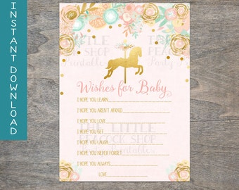 Pink Gold Wishes for Baby card | Baby Shower printable and digital file | Peach Mint Carousel