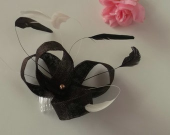 Chocolate brown feather fascinator made in Scotland. Brides mother/Grooms mother/Day at the Races