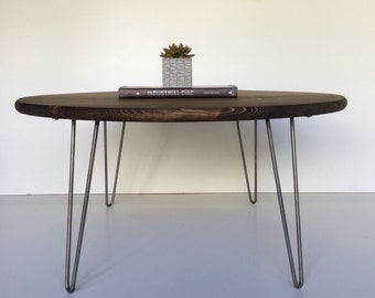 "30"" Industrial modern coffee table with steel hairpin legs"
