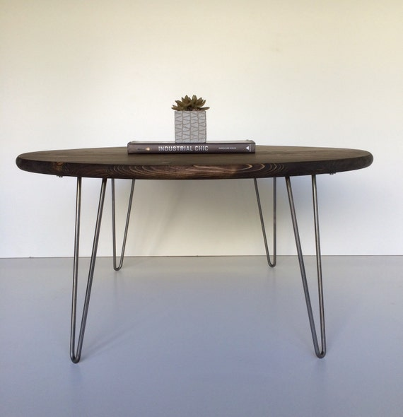 Table Round Industrial Coffee Table Gratifying Ballard: 30 Round Industrial Chic Modern Coffee Table By GroveAndAnchor