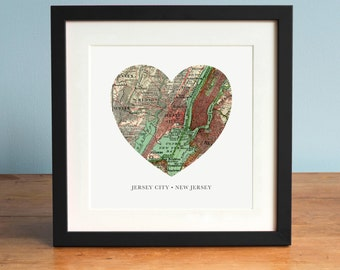 Jersey City NJ Map, Jersey City Heart Map, New Jersey Map Art, Vintage Map, Antique Map Art, Personalized Map Art, Valentines Day